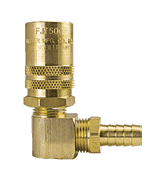"BLFS516 ZSi-Foster Quick Disconnect FJT Series - 1/2"" Straight-Thru Socket - 3/4"" I.D. 90 deg. Hose Stem - Ball Lock, Brass"