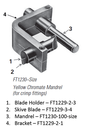 FT1230-100-4 Eaton Aeroquip Yellow Chromate Replacement Mandrel for External Skiving Tool (for Crimp Fittings)