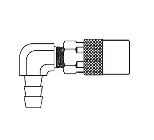FTS214 Eaton Flo-Temp Series Female Socket - 1/4 Body Size - 1/4 Hose Stem 90 deg. End Connection Quick Disconnect Coupling - Brass - Non Valved