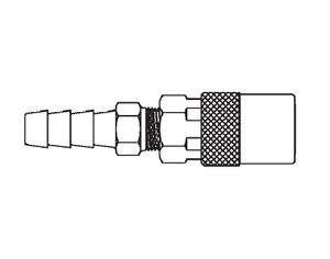 FTS204VHP Eaton Flo-Temp Series Female Socket - 1/4 Body Size - 1/4 Hose Stem End Connection Quick Disconnect Coupling for use with Push-on Style Hose - Brass - Valved