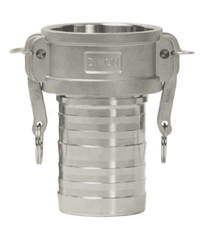 "G150-C-ALCR Dixon 1-1/2"" A380 Permanent Mold Aluminum King Crimp Style Global Type C Female Coupler x Hose Shank"