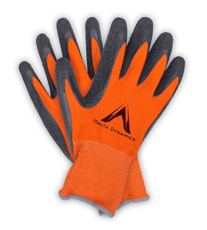 G2000 Malta Dynamics 13N Thin Orange Polyester Gloves with Latex Palm - 12 Pair Pack