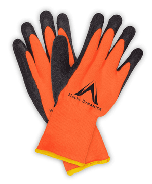 G3500 Malta Dynamics 10N Thick Orange Brush Terry Gloves with Latex Palm - 12 Pair Pack