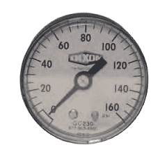 "GC225 Dixon ABS Standard Dry Gauge - 2"" Face, 1/4"" Center Back Mount - 0-100 PSI"