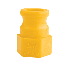 "GHFT075A Banjo Polypropylene Garden Hose Fitting - Yellow - Part A - 3/4"" Male Adapter x 3/4"" Female GHT"