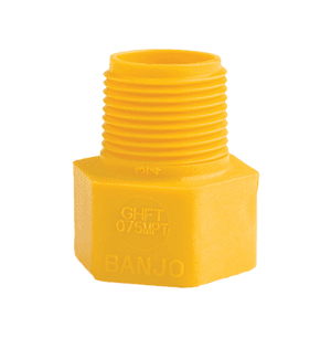"GHFT075MPT Banjo Polypropylene Garden Hose Fitting - Yellow - 3/4"" Male NPT x 3/4"" Female GHT"