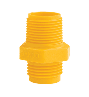 "GHMT075MPT Banjo Polypropylene Garden Hose Fitting - Yellow - 3/4"" Male NPT x 3/4"" Male GHT"