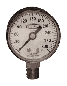 "GL300 Dixon ABS Standard Dry Gauge - 2-1/2"" Face, 1/4"" Lower Mount - 0-15 PSI"