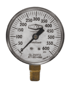 "GL360FG Dixon FlutterGuard Dry Gauge - 2-1/2"" Face, 1/4"" Lower Mount - 0-1500 PSI"