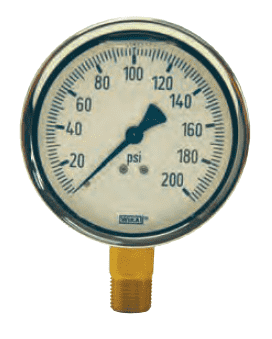 "GLBR200-4 Dixon Brass Liquid Filled Gauge - 4"" Face, 1/2"" Lower Mount - 0-200 PSI"