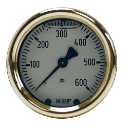 "GLBRC2000 Dixon Brass Liquid Filled Gauge - 2-1/2"" Face, 1/4"" Center Back Mount - 0-2000 PSI"