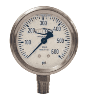 "GLS400 Dixon Liquid Filled Stainless Case Gauge - 2-1/2"" Face, 1/4"" Lower Mount - 0-15 PSI"