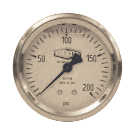 "GLSC420 Dixon Liquid Filled Stainless Case Gauge - 2-1/2"" Face, 1/4"" Center Back Mount - 0-200 PSI"