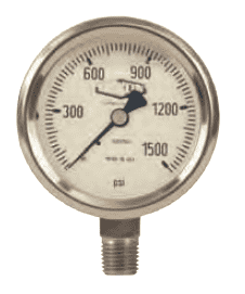 "GLSS1500 Dixon All Stainless Steel Liquid Filled Gauge - 2-1/2"" Face, 1/4"" Lower Mount - 0-1500 PSI"