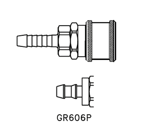 GR606P Eaton 600 Series Standard Female Socket - 1/4 Hose Stem End Connection Pneumatic Quick Disconnect Coupling for use with Push-on Style Hose - Buna-N Seal - Brass