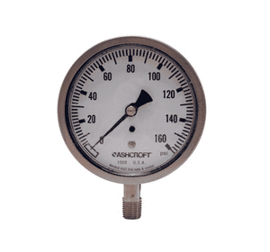 "GSS160-4 Dixon All Stainless Steel Dry Gauge - 3-1/2"" Face, 1/4"" Lower Mount - 0-160 PSI"