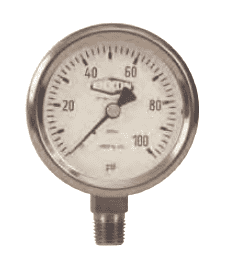 "GSS100 Dixon All Stainless Steel Dry Gauge - 2-1/2"" Face, 1/4"" Lower Mount - 0-100 PSI"