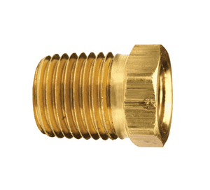 "HB2F4M Dixon Brass Reducer Hex Bushing - 1/4"" Female NPTF x 1/2"" Male NPTF Adapter"