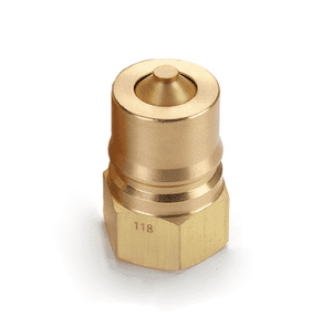 B4KP26 Eaton Hanson HK 1-8 Series Male Plug - Female 1/2-14 NPTF VALVED - ISO 7241-1-B Interchange Brass Quick Disconnect - Standard Buna-N Seal replaces FD45-1086-08-10