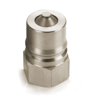 4KP10 Eaton Hansen HK 1-8 Series Male Plug - Female 7/8-14 SAE VALVED - ISO 7241-1 B Interchange Steel Quick Disconnect - Standard Buna-N Seal