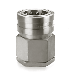 LL12H46BS Eaton Hansen HK 10/12/20 Series Female Socket 1 1/2-11 BSPP VALVED - ISO 7241-1 B Interchange 303 Stainless Steel Quick Disconnect - Standard Buna-N Seal