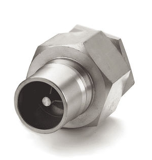 LL10K41 Eaton Hansen HK 10/12/20 Series Male Plug 1 1/4-11 1/2 NPTF VALVED - ISO 7241-1 B Interchange 303 Stainless Steel Quick Disconnect - Standard Buna-N Seal