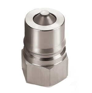 ML4KP26 Eaton Hanson HK 1-8 Series Male Plug 1/2-14 NPTF VALVED - ISO 7241-1-B Interchange 316 Stainless Steel Quick Disconnect - Standard Buna-N Seal