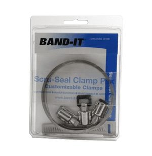 "M21899 Band-It Each Pak includes: 200/300SS 3/8"" x 0.015"" x 10', 3 Scru-Seals, and 3 Racks - 10 Packs/Box"