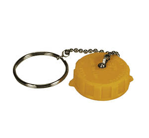 "ME109-1 Dixon Plastic Acme Cap - 1-3/4"" Female Acme Cap with Ring and Chain (Yellow)"