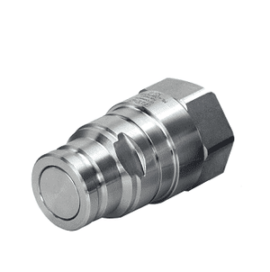 ML8DBP100FBS Eaton MLDB Series Flat Face/Dry Break Male Plug - 1-11 Female BSPP Quick Disconnect Coupling - FKM - Stainless Steel