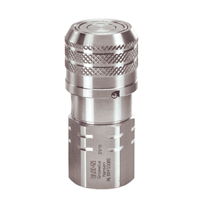 "ML19FFS75 Eaton MLFF Series ISO 16028 Flat Face/Dry Break Female Socket 3/4-14 Female NPT (3/4"" Body) NBR+AU Quick Disconnect Coupling Stainless Steel"