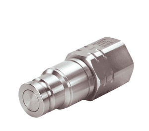 "ML19FFP75 Eaton MLFF Series ISO 16028 Flat Face/Dry Break Male Plug 3/4-14 Female NPT (3/4"" Body) NBR+AU Quick Disconnect Coupling Stainless Steel"