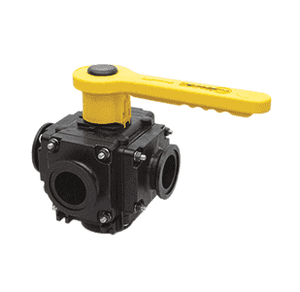 "MV225CF Banjo Polypropylene Manifold Bolted 5 Way Ball Valve - Full Port - 2"" Flanges - Opening Thru Ball: 2"" - 150 PSI"