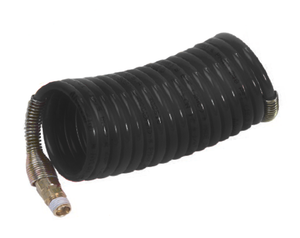 "N9DS1-50 Nycoil Nylon Self-Storing Air Hose Assembly - 3/4"" Hose ID - 3/4"" MPT Swivel - Black - 160 PSI - 50ft"