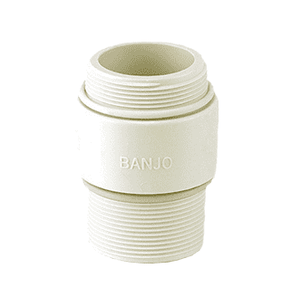 "NIP2101 Banjo Polypropylene FDA Union Valve Adapter - 2"" NPT x BSP Nipple - White"