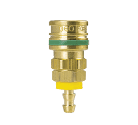 "BLO-1713 ZSi-Foster Quick Disconnect O60 Series 1/4"" Standard Socket - 3/8"" ID - Push-On Hose Stem - Ball Lock, Brass"