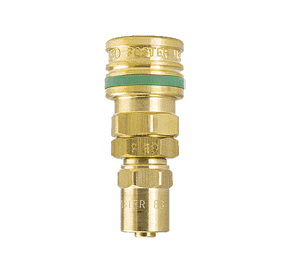 "O-SD9 ZSi-Foster Quick Disconnect O60 Series 1/4"" Standard Socket - 3/8"" ID x 11/16"" OD - Reusable Hose Clamp - Brass"