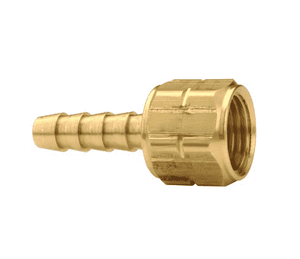"OA69 Dixon Brass Acetylene Left-Hand Thread Coupling - 3/16"" Hose Size - 3/8""-24 UNF Thread - 7/16"" Hex"