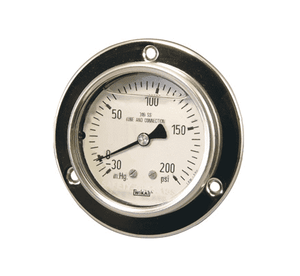 "PBLSS200 Dixon All Stainless Panel Builder Gauge - 2-1/2"" Face, 1/4"" Lower Back Mount - 0-200 PSI"