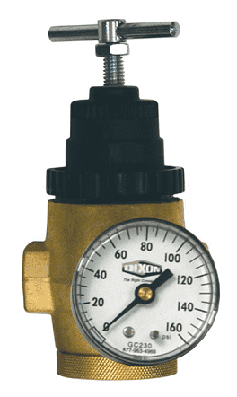 "R43-201RG Dixon 1/4"" Series 1 Water Regulator with Gauge - 5 SCFM"