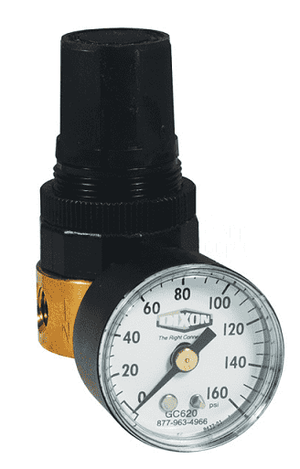 "RB3-02RG Dixon Wilkerson 1/4"" Miniature Water Regulator with Gauge - 14 SCFM"