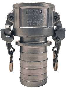 "RC150CEZ Dixon 1-1/2"" 316 Stainless Steel Strap-Grip Boss-Lock Type C Coupler x Hose Shank"