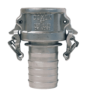"RC150BLNO Dixon 1-1/2"" 316 Stainless Steel Boss-Lock Type C Female Coupler x Notched Hose Shank"