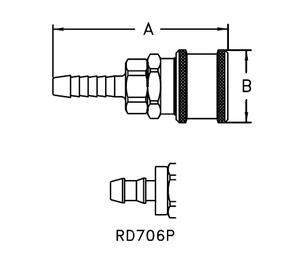 RD706P Eaton 700 Series Standard Female Socket - 1/4 Hose Stem End Connection Pneumatic Quick Disconnect Coupling for use with Push-on Style Hose - Buna-N Seal - Brass