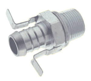"S13479 Band-It Tri-Lokt 316SS Machined Male Hose Nipple - NPT Including Yoke - 3/4"" Hose ID - 3/4"" NPT - 1.5"" Shank Length"