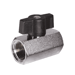 "S34BF1 RuB Inc. Metric Threaded Mini Ball Valve - Brass - 1/4"" Female BSPP x 1/4"" Female BSPP - (Parallel ISO228) with Black T-Handle"