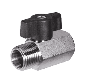 "S34BM1 RuB Inc. Metric Threaded Mini Ball Valve - Brass - 1/4"" Male BSPP x 1/4"" Female BSPP - (Parallel ISO228) with Black T-Handle"