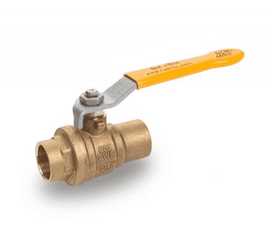 "S42I00 RuB Inc. Full Port 2-Way Ball Valve - Brass - 2"" Female Solder End x 2"" Female Solder End With Yellow Steel Handle"