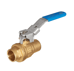 "S42F15 RuB Inc. Full Port 2-Way Ball Valve - Brass - 1"" Female Solder End x 1"" Female Solder End with Blue Lockable Handle"