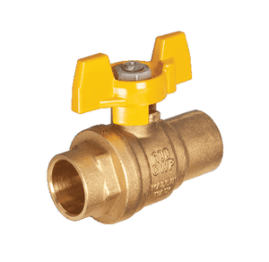 "S42F16 RuB Inc. Full Port 2-Way Ball Valve - Brass - 1"" Female Solder End x 1"" Female Solder End with Yellow Aluminum T-Handle"